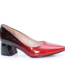 Pantofi Zeida negri cu rosu cu toc