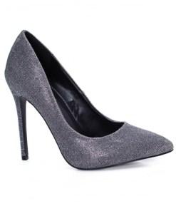 Pantofi Zenan gri cu toc