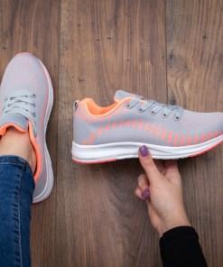 Pantofi sport Kikima gri cu portocaliu