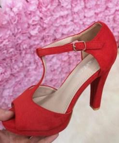 Sandale Anfeli rosii cu toc