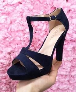 Sandale Badiva albastre cu toc