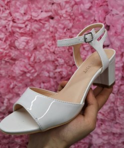 Sandale dama Jidami albe cu toc