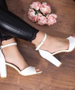 Sandale Misila albe cu toc