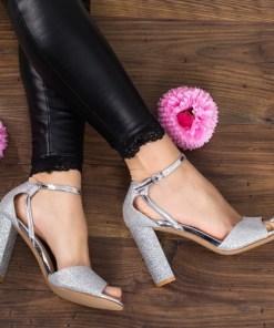 Sandale Premita argintii cu toc
