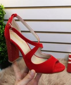 Sandale Timisi rosii cu toc