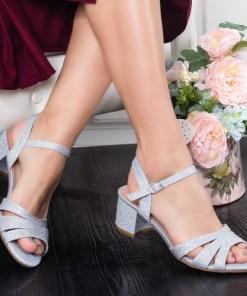 Sandale Codisa argintii cu toc