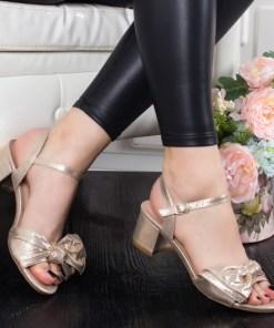 Sandale Lorelima aurii cu toc