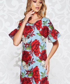 Rochie rosie casual cu un croi drept din bumbac neelastic cu imprimeuri florale