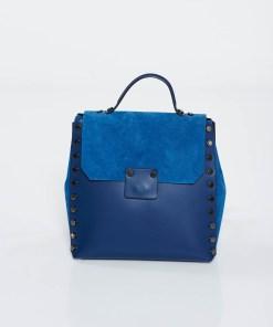 Rucsac albastru-inchis casual din piele naturala cu tinte metalice