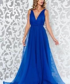 Rochie Ana Radu albastra de lux din voal captusita pe interior cu decolteu in v accesorizata cu cordon