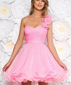 Rochie Ana Radu roz de ocazie tip corset in clos din tul cu bust buretat accesorizata cu cordon
