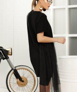 Tricou negru casual lung cu croi larg cu aplicatii de tull