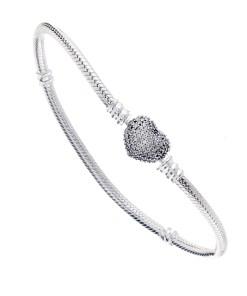 Bratara pentru talimane, Argint 925, inchizatoare inima cu zirconii albe, lungime 18 cm