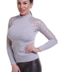 E923-182 Bluza casual accesorizata cu dantela