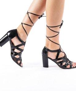 Sandale dama cu toc Heather negre