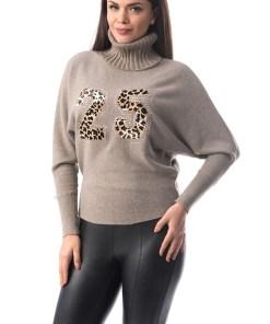 J956-1581 Bluza cu guler inalt de helanca si imprimeu