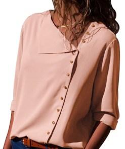 L618-5 Bluza casual cu nasturi aurii si maneci lungi