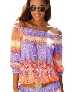 N204-100 Bluza vaporoasa de vara cu imprimeu colorat