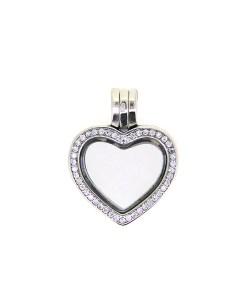 Pandantiv argint, forma inima, decorat cu zirconii albe