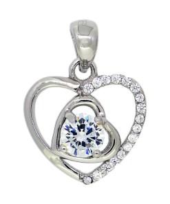 Pandantiv in forma de inima, din Argint 925, decorat cu zirconiu