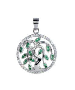 Pandantiv rotund tree of life din Argint 925 rodiat, cu frunzulite din zirconiu verde