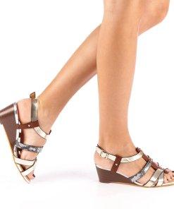 Sandale dama cu platforma Cadis aurii