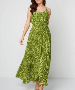 Rochie lunga, cu imprimeu in nuante de verde