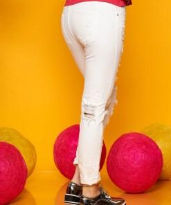 Blugi SunShine albi casual skinny cu talie medie cu rupturi si buzunare in fata