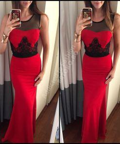 Rochie de seara sau ocazie lunga rosie evazata cu broderie neagra 248