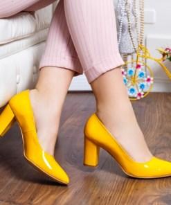 Pantofi Piele Nelina galbeni cu toc