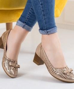 Pantofi Piele Calemi aurii cu toc gros