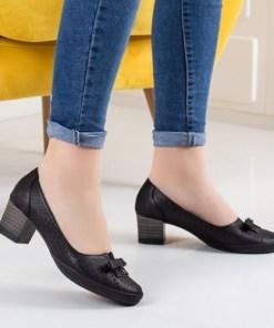 Pantofi Piele Calemi negri cu toc gros
