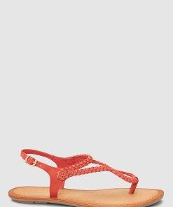 Sandale de piele cu bareta separatoare si detalii impletite