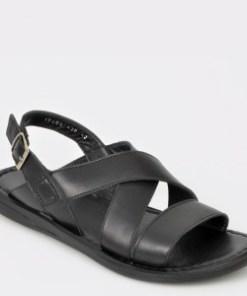 Sandale OTTER negre, 17408, din piele naturala