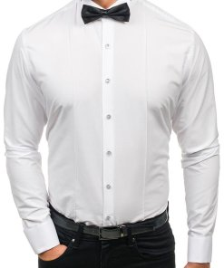 Camasa pentru barbat cu maneca lunga alba Bolf 4702 papion+set butoni