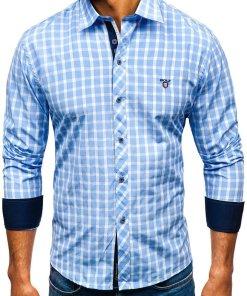 Camasa eleganta pentru barbat in carouri cu maneca lunga albastru-deschis Bolf 4747