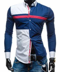 Camasa pentru barbat cu print decorativ maneca lunga bluemarin Bolf 5729