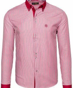Camasa eleganta pentru barbat in dungi cu maneca lunga rosie Bolf 5795