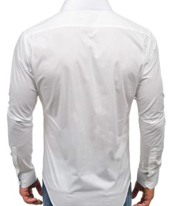 Camasa eleganta pentru barbat cu maneca lunga alba Bolf 9983