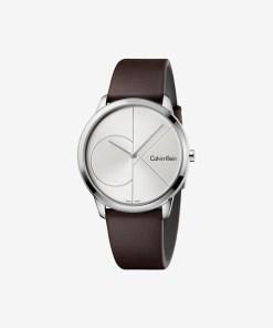 Calvin Klein Minimal Ceas pentru Bărbați - 59543 - culoarea Maro Argintiu