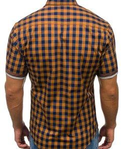 Camasa pentru barbat in carouri cu maneca scurta maro Bolf 4508