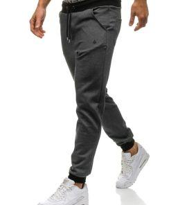 Pantaloni sweatpants joggers pentru barbat gri-deschis Bolf 1139