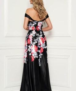 Rochie Artista neagra lunga de seara cu decolteu adanc cu imprimeuri florale