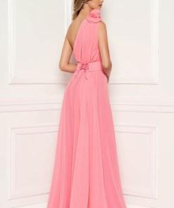 Rochie Ana Radu roz prafuit de lux lunga in clos din voal captusita pe interior accesorizata cu cordon