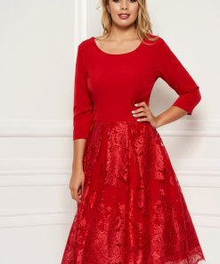 Rochie rosie eleganta midi in clos din material usor elastic suprapunere cu dantela