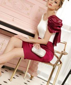 Rochie PrettyGirl visinie midi eleganta tip creion din material satinat cu accesoriu inclus