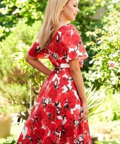 Rochie StarShinerS rosie de zi in clos midi cu imprimeu floral cu elastic in talie si maneci tip fluture