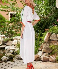 Rochie SunShine alba casual din bumbac cu croi larg cu maneci trei-sferturi si tricot