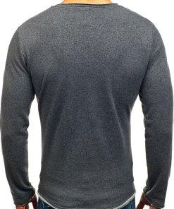 Bluza fara gluga cu imprimeu pentru barbat gri-antracit Bolf 9081