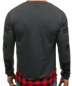 Bluza fara gluga cu imprimeu pentru barbat gri-antracit Bolf 0765